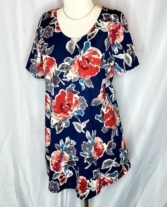 Navy/Rose Floral Everyday Tee By A&D